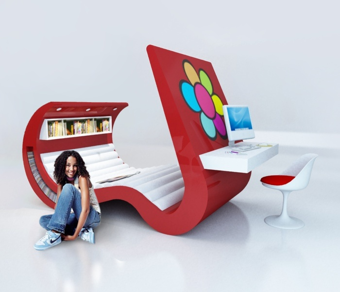 Gençlere hitap eden tümleşik ilginç oda tasarımı.