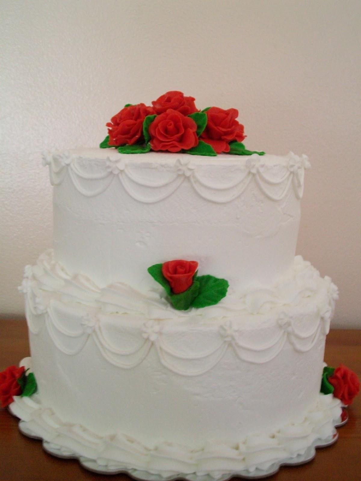 CAKES BY SHAMEKA: Red Rose Wedding cake w/ Buttercream