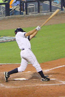 Reid Fronk collected five RBI's in the two game against the Mets.  Photo by Jim Donten.