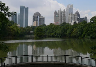 View of Atlanta's Midtown skyline from Lake Clara Meer