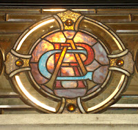 Rhodes Hall front door stained glass transum