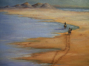 """Sand and Sea Horses"",  beach scene"