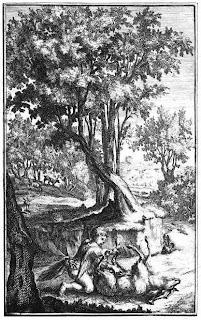 Gravure uit De natuurlyke wysgeer, of Het leven van Hai Ebn Jokdan, waarin de jongeman een schaap onderzoekt