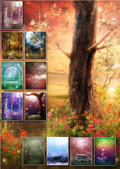 Set Of Fairy Backgrounds