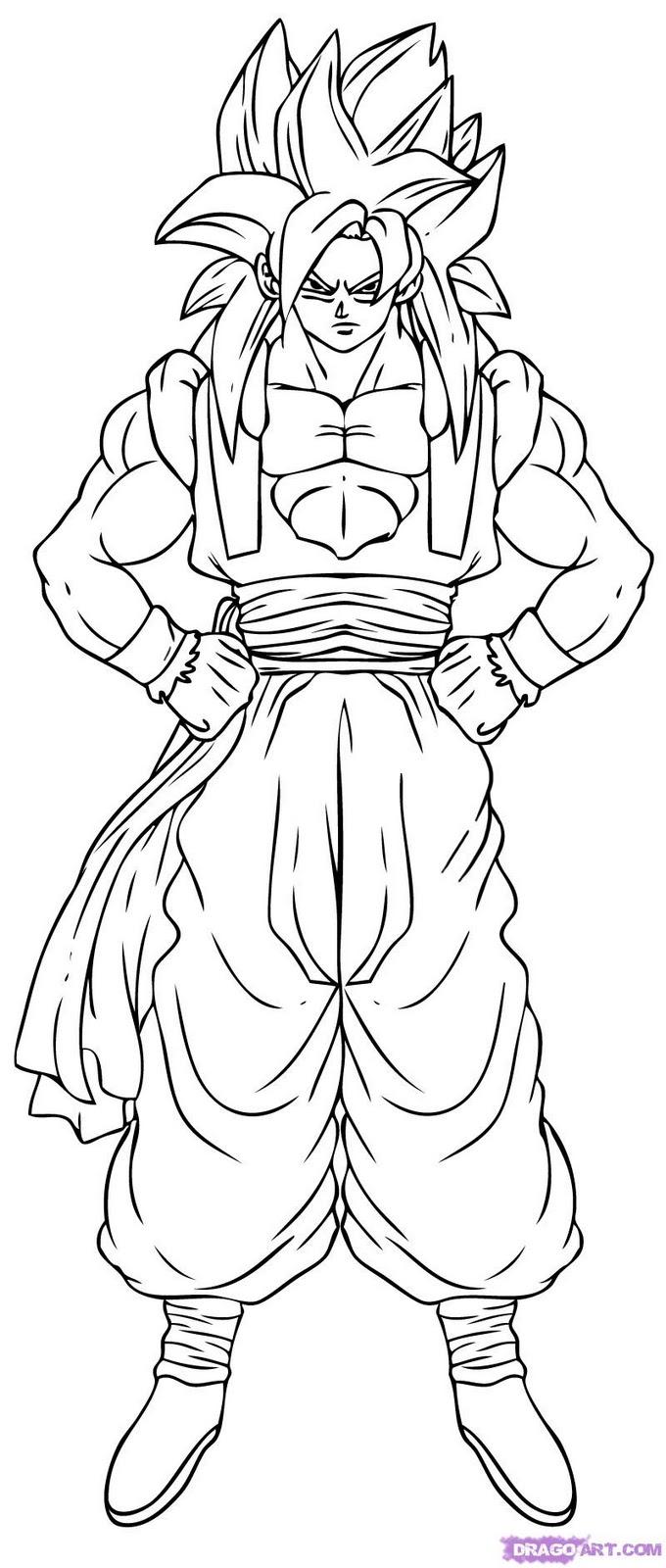 Dibujos para colorear goku fase 4 - Imagui