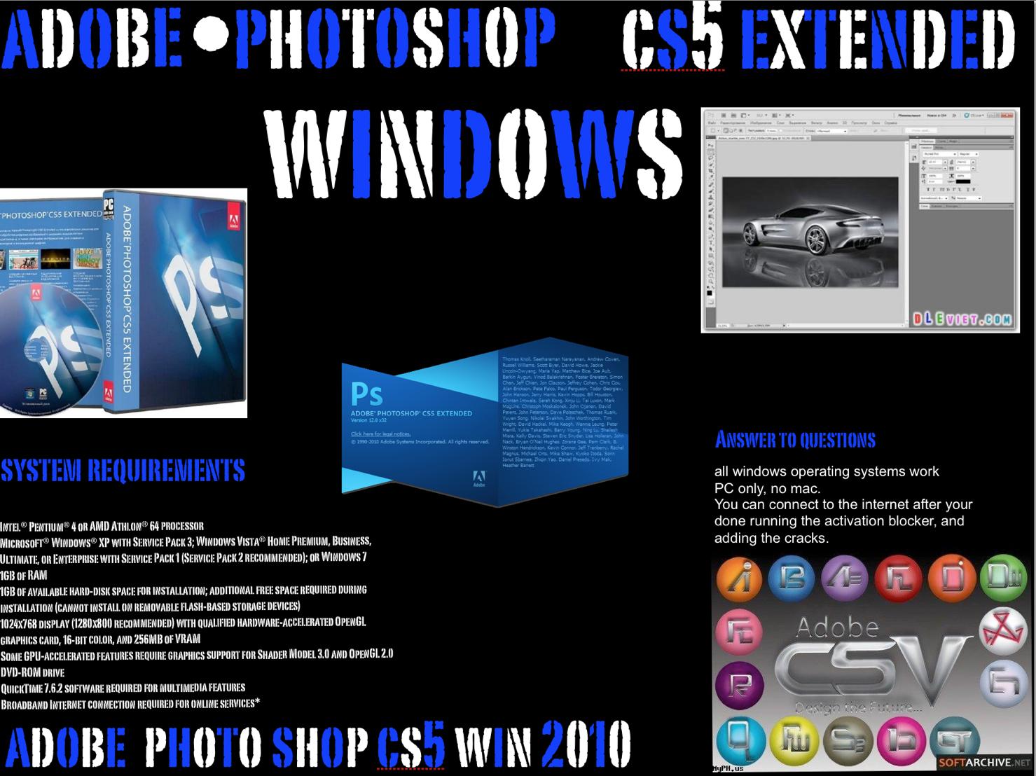 photoshop cs5  with crack for windows 10