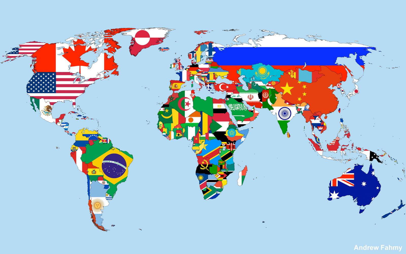 L'Animalerie Numérique: Carte du monde avec les drapeaux