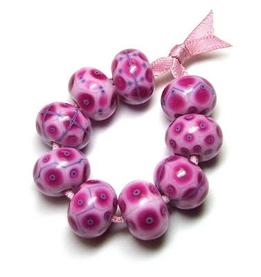Mostly Magenta Lampwork Glass Beads