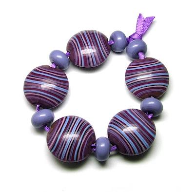 Striped Lentil Beads