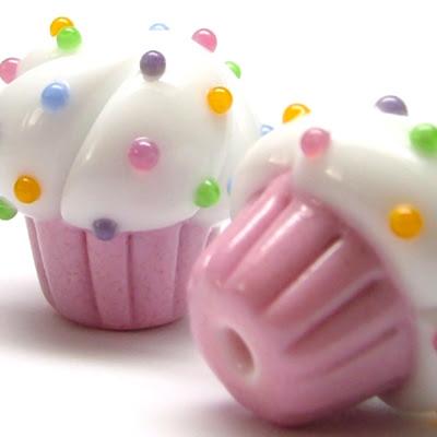 Lampwork Glass Cupcake Beads