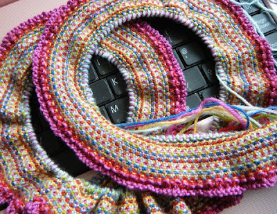 Hand knitted scarf made form sock yarn scraps