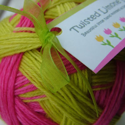 Hand painted self striping sock yarn from Twisted Limone Designs