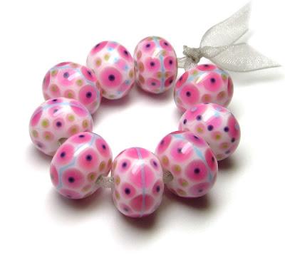 Pink Lampwork Glass Beads