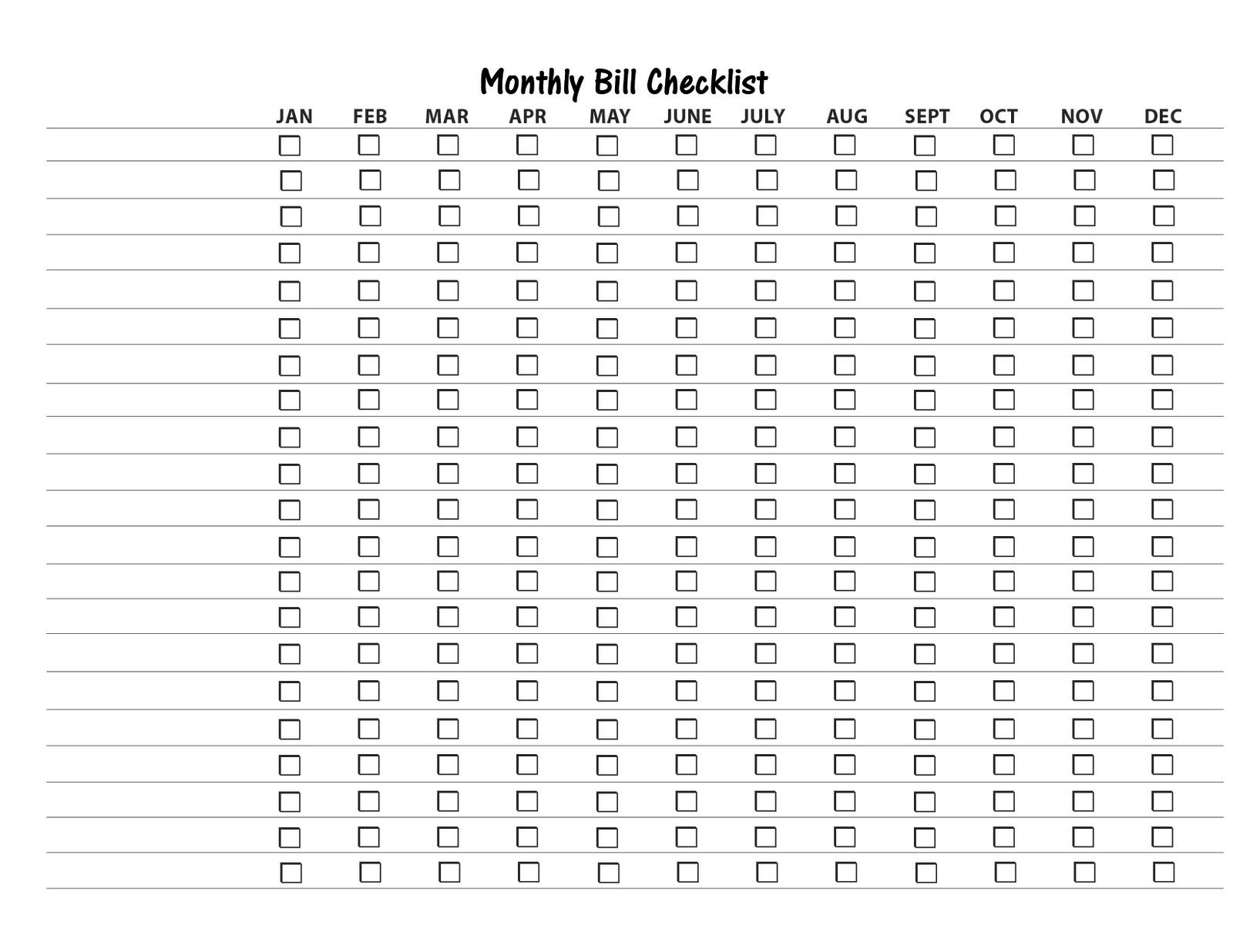 Monthly Bill List Template Zrom