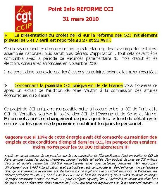 Information aux collaborateurs ccip tract du 31 mars for Chambre de commerce et d industrie de paris ccip
