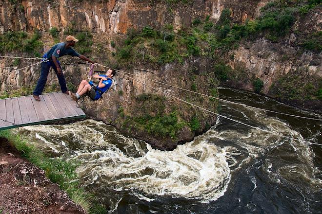 Gorge swing in Batoka Gorge, Victoria Falls, Zimbabwe