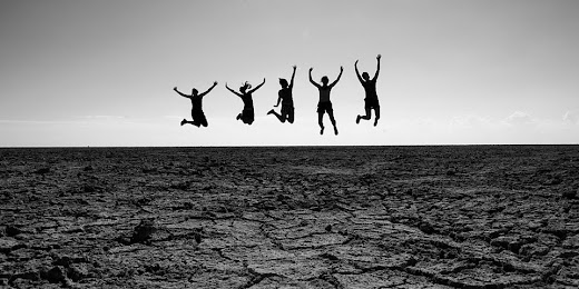 People jumping, Etosha Pan, Etosha National Park, Namibia © Matt Prater