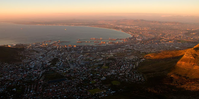 View from Table Mountain at sunset, Cape Town, South Africa © Matt Prater