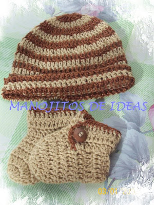 MANOJITOS DE IDEAS: GORRO Y ZAPATITOS PARA BEBE