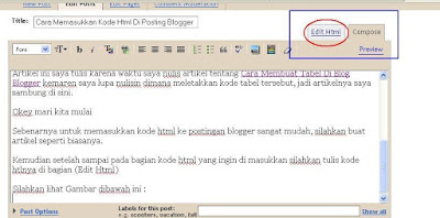 Cara Memasukkan Kode Html Di Posting Blogger
