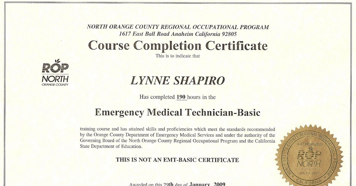 Riding Lady: I got my EMT-B Certificate from NOCROP AND was 5th out ...