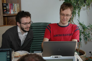 Samuele and Carl Friedrich pretending to work on something
