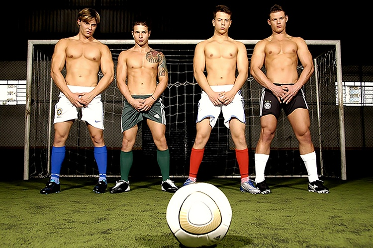 Foot ball players male underwear cock