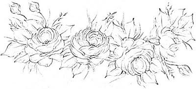 risco pintura em tecido pano de prato rosas