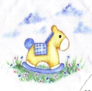 pintura em tecido infantil fralda cavalinho de pau