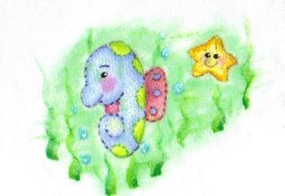 pintura em tecido infantil fralda cavalo marinho