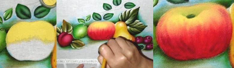 como pintar maçã em tecido passo a passo
