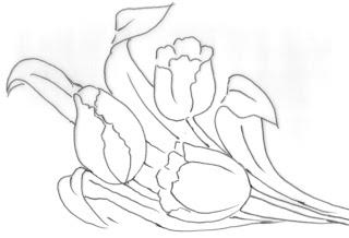 pintura em tecido risco pano de prato flores tulipas