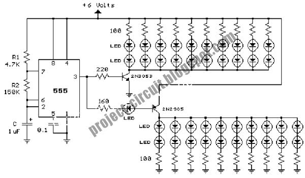 free project circuit diagram  40 led bicycle circuit light using 555 timer ic