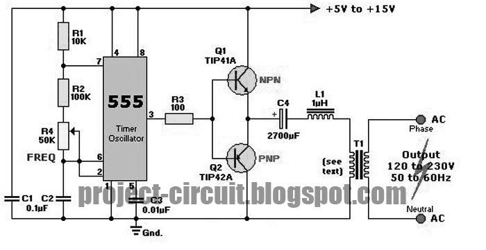 electronics technology  dc to ac inverter using 555 ic