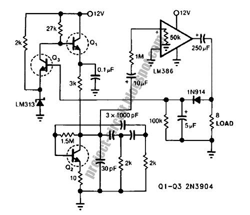 electronics technology  phase shift oscillator circuit