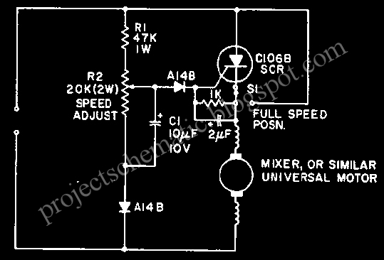 Free project circuit schematic mixer or sewing machine for Universal motor speed control circuit