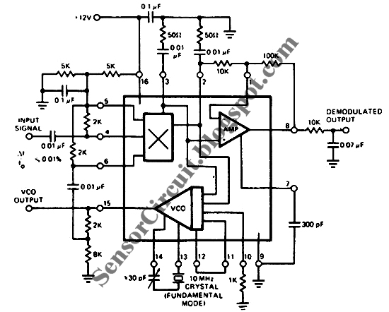 sensor schematic january 2011exar xr 215 pll ic is operated as crystal controlled phase locked loop by using crystal in place of conventional timing capacitor