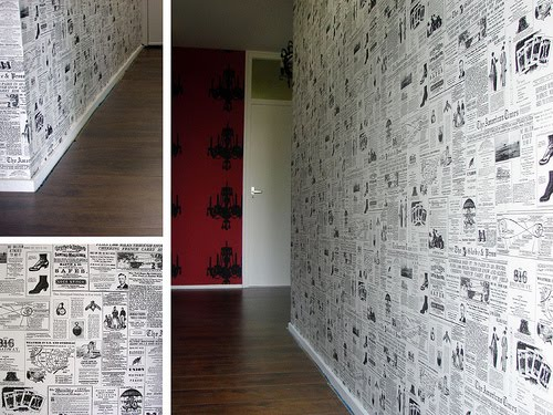 Empapelar la pared con papel de peri dico for Paredes con papel periodico