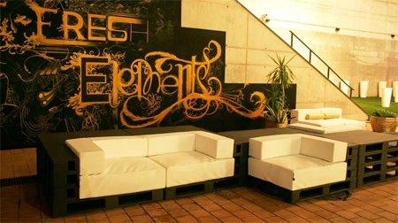 Sotano studio muebles con palets y dem s materiales - Muebles hechos con materiales reciclados ...