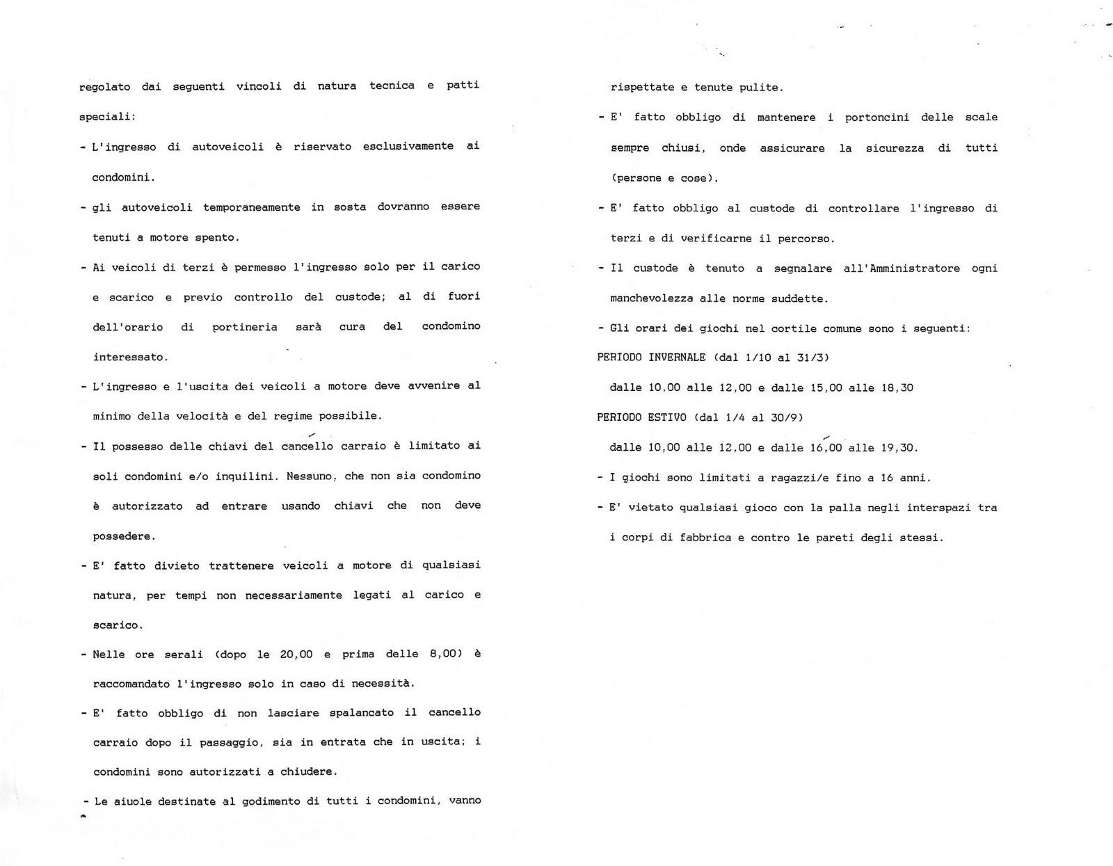 Montemartini sei il regolamento del condominio for Regole di condominio