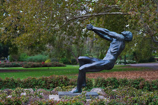 Sculpture of a Hammer thrower at Queen Victoria Gardens - Melbourne Australia