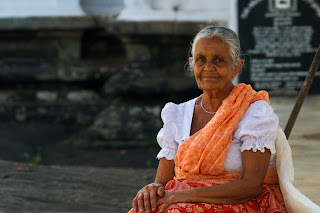 A portrait of a woman who was drying cloves at the Lankathilaka temple in Kandy