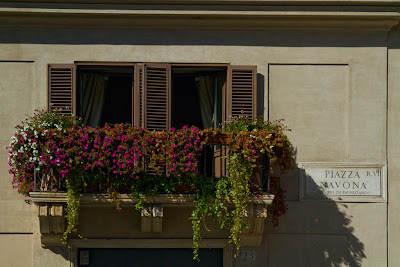 A Balcony looking out onto Piazza Novona - Rome, Italy