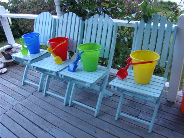 Buckets waiting to be filled with beach treasures...