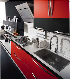 Red Kitchen Designs When set into pristine white walls, the Heliante Red kitchen cabinets