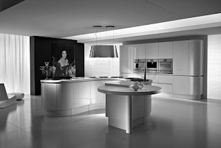 White Modern Kitchens Modern design kitchen with white floor white chairs