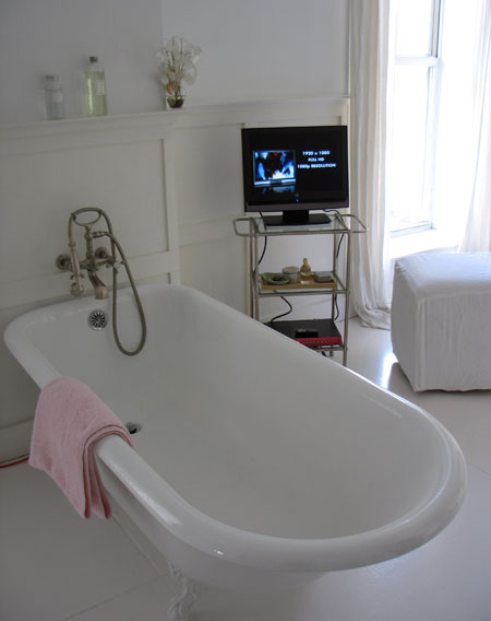 bathroom tv 2 In the bedroom and bathroom