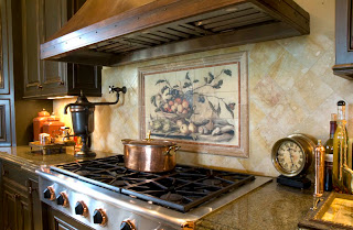 Kitchen Backsplash Murals Cynara Tile Mural installed in a kitchen backsplash
