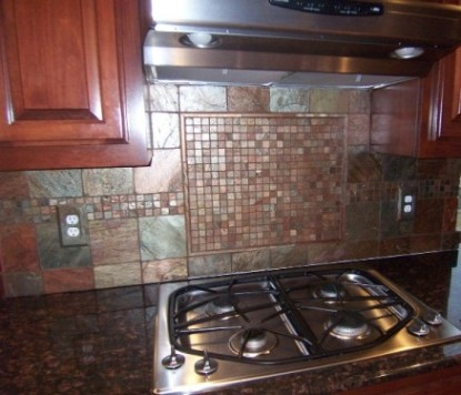 copper tile backsplash Tumbled copper slate backsplash done! - Ceramic Tile Advice
