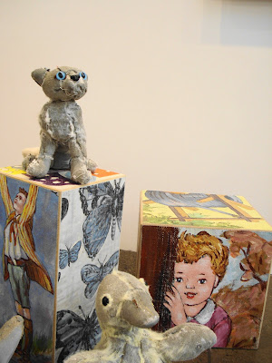 Ross Bonfanti's mixed media  [petrified and thread bare] and David Bromley boxes